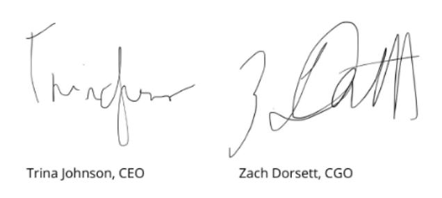 Trina and Zach signature